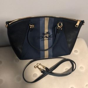 Navy top handle coach bag